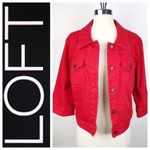 Ann Taylor LOFT Red Denim Button Up Jean Jacket XL